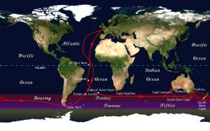 La ruta que seguían los clippers del siglo XIX circunnavegando el globo.