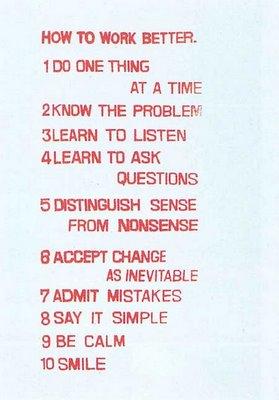 """""""How to work better"""", por Peter Fischli y David Weiss."""
